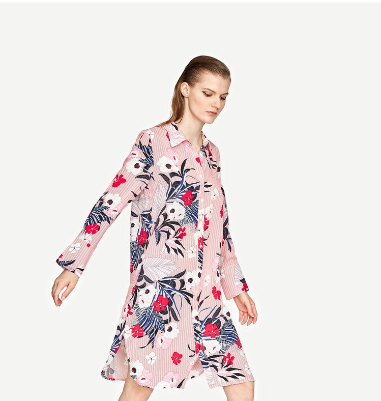 PINK TROPICAL SHIRT DRESS
