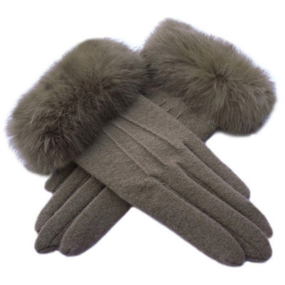 FUR RIMMED GLOVES
