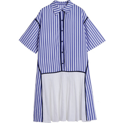 STRIPE PLEAT BOTTOM SHIRT TUNIC