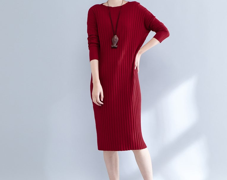 BATWING RIBBED DRESS - Mia Mod