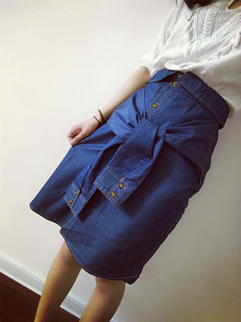 SHORTER GIRL STYLE - TIE WAIST DENIM SKIRT