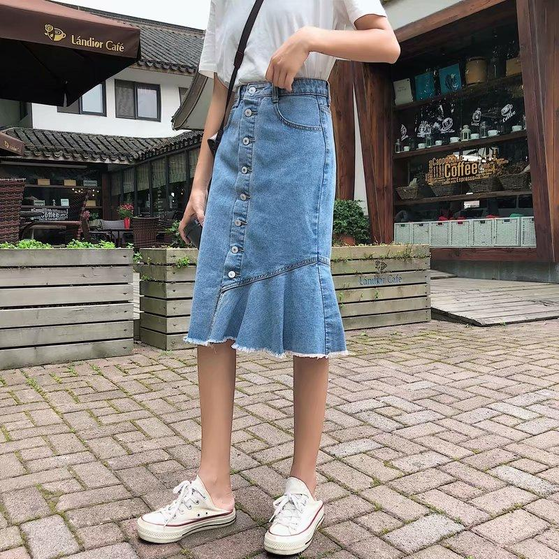 BUTTON DOWN HALF STRAIGHT SKIRT - Mia Mod