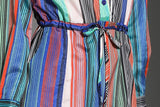 SATIN STRIPED DRAWSTRING DRESS