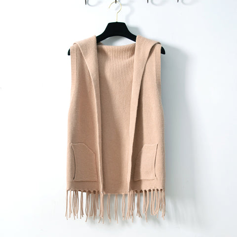 Tassle Front Hooded Open Vest