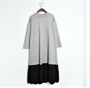 3/4 SLEEVE PLEAT BOTTOM TSHIRT DRESS