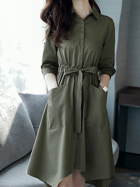 ASYMMETRICAL POLISHED SHIRT DRESS