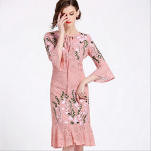 PINK EMBROIDERED TRUMPET DRESS