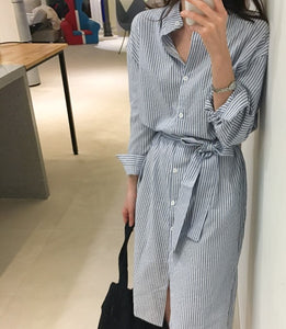 SEERSUCKER COLLARLESS SHIRT DRESS