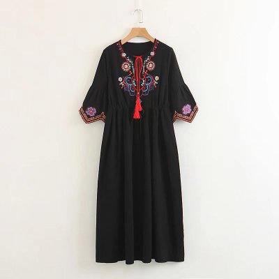 EMBROIDERED FRONT BOHEME DRESS