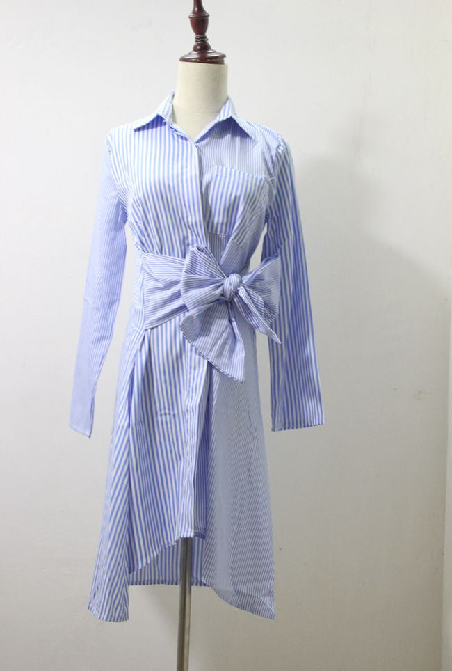 SHORTER GIRL STYLE - ASYMMETRICAL HEM PIN SHIRT DRESS
