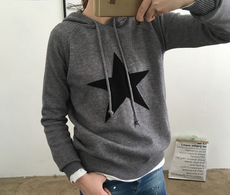 STAR KNITTED HOODIE