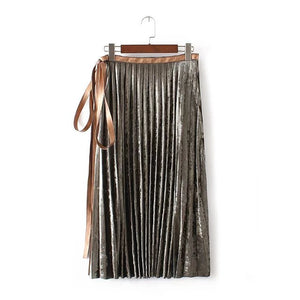 Crush Velour Pleat Skirt