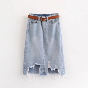 SHREDDED BOTTOM JEAN SKIRT