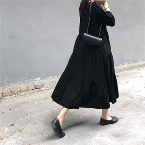 BLACK LAYERED BOTTOM TSHIRT DRESS