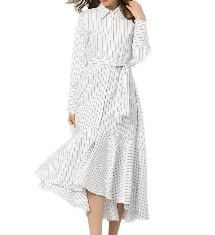 STRIPE DROP WAIST NON PETITE DRESS