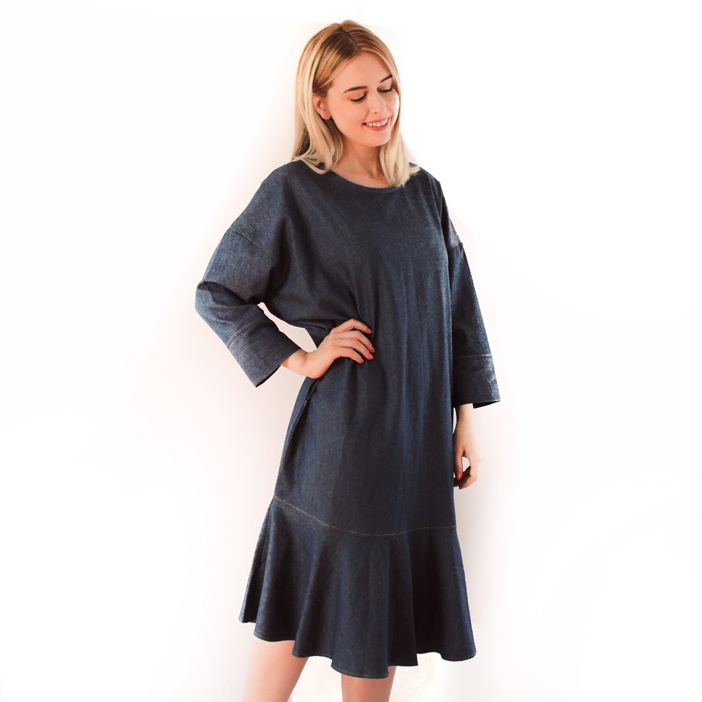 DROP WAIST DARK DENIM DRESS