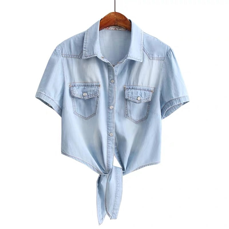 SHORT SLEEVE TIE WAIST DENIM SHIRT