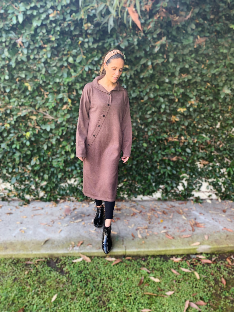 Slant Button Sweater Dress