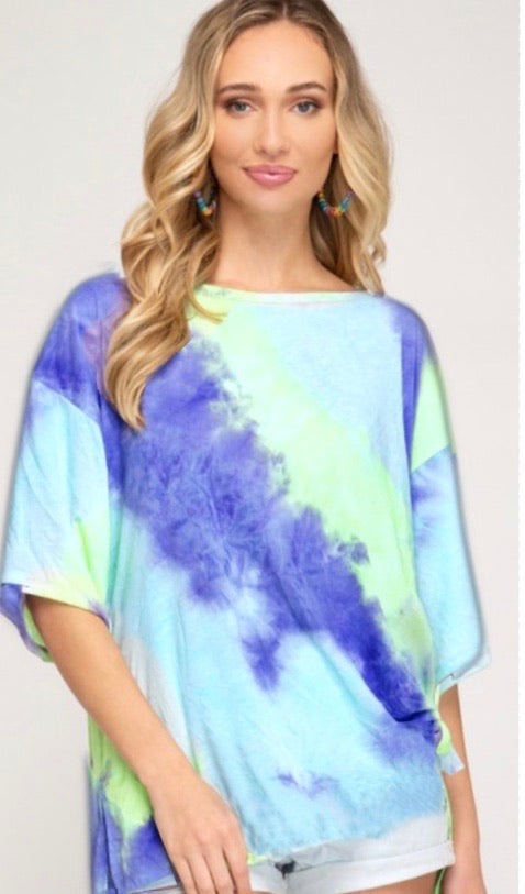 HI-LO LIME TIE DYE OVER ELBOW T