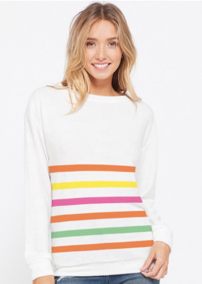 STRIPED THIN SWEATSHIRT