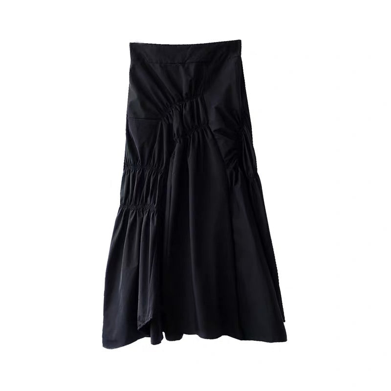 BLACK BUNCHED SKIRT - Mia Mod