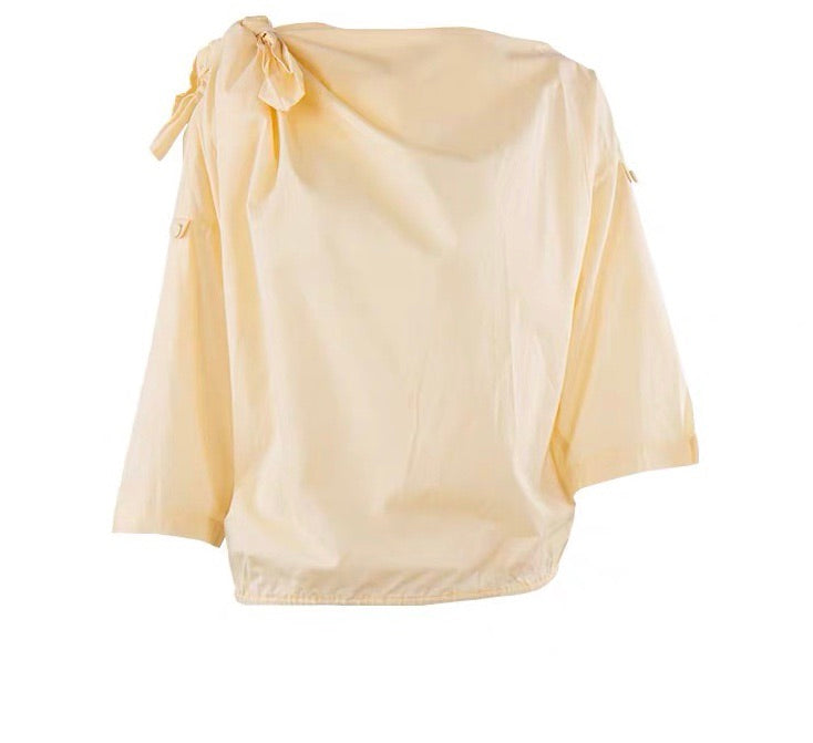 COTTON TIE SHOULDER TOP