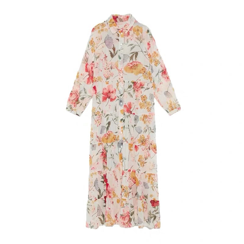 LOOSE BRIGHT FLORAL DRESS