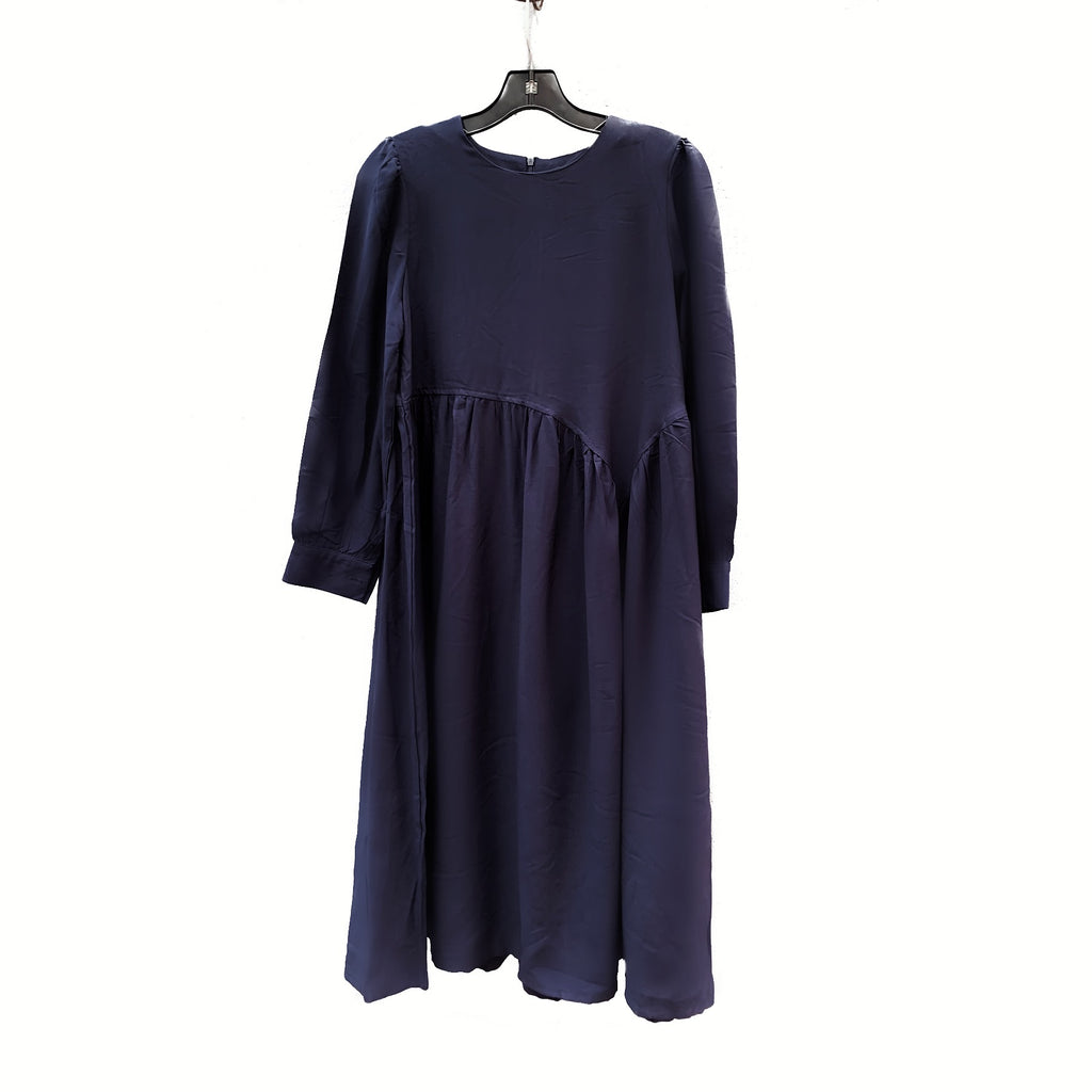 NAVY ASYMMETRICAL CUT DRESS