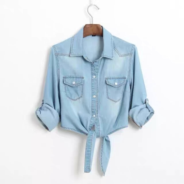 LIGHT DENIM TIE WAIST SHIRT