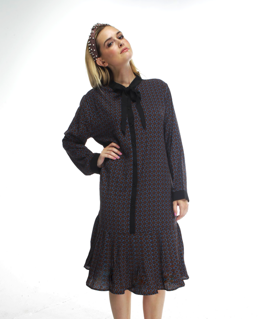 DIAMOND BUTTON DOWN SHIFT DRESS - Mia Mod