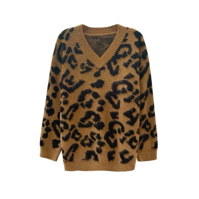 Deep  V Leopard Sweater