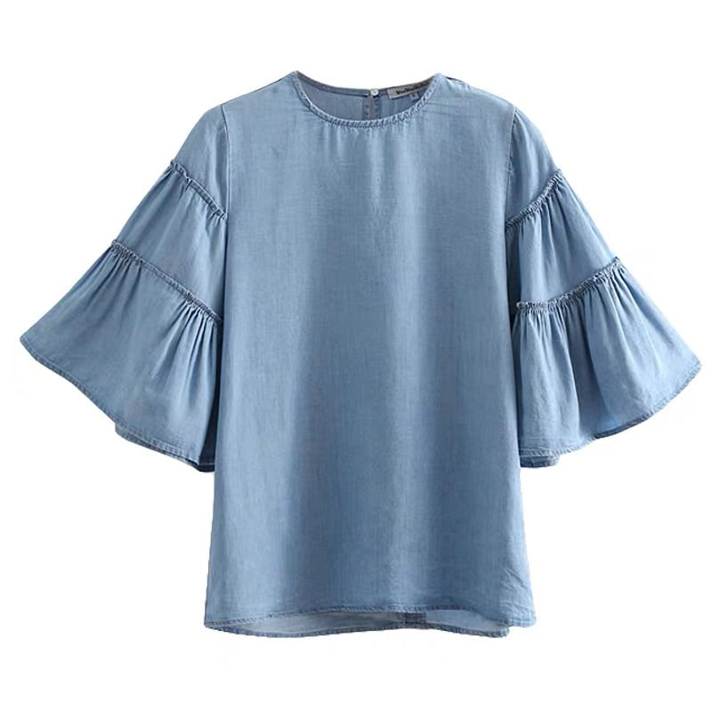 TENCEL DENIM RUFFLE SLEEVE TOP