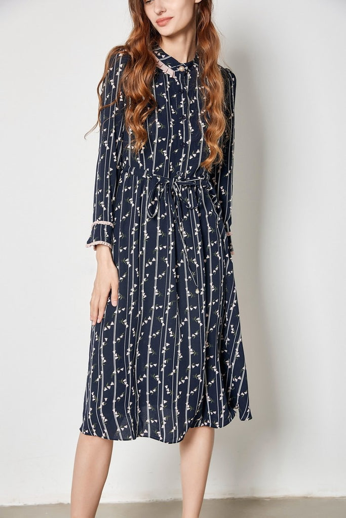 NAVY STRIPE FLORAL DRESS