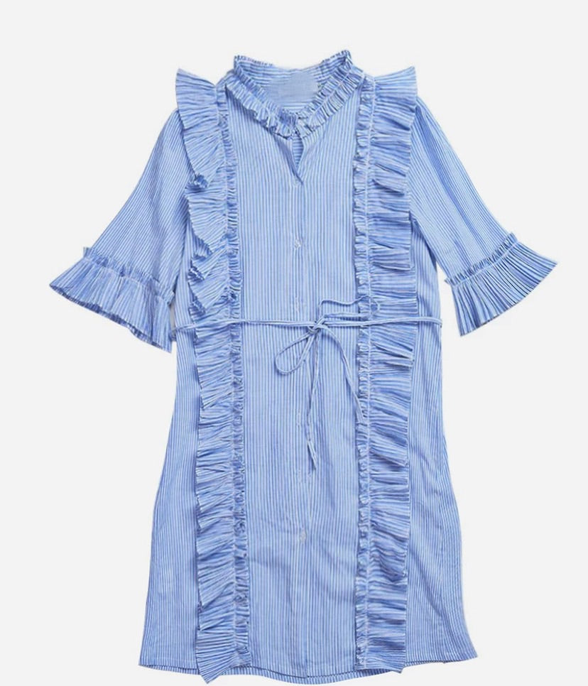 EXTRA PETITE: STRIPE FRILL SHIRT DRESS