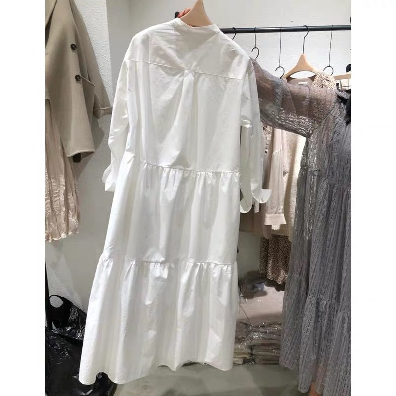 TIERED WHITE SHIRT DRESS