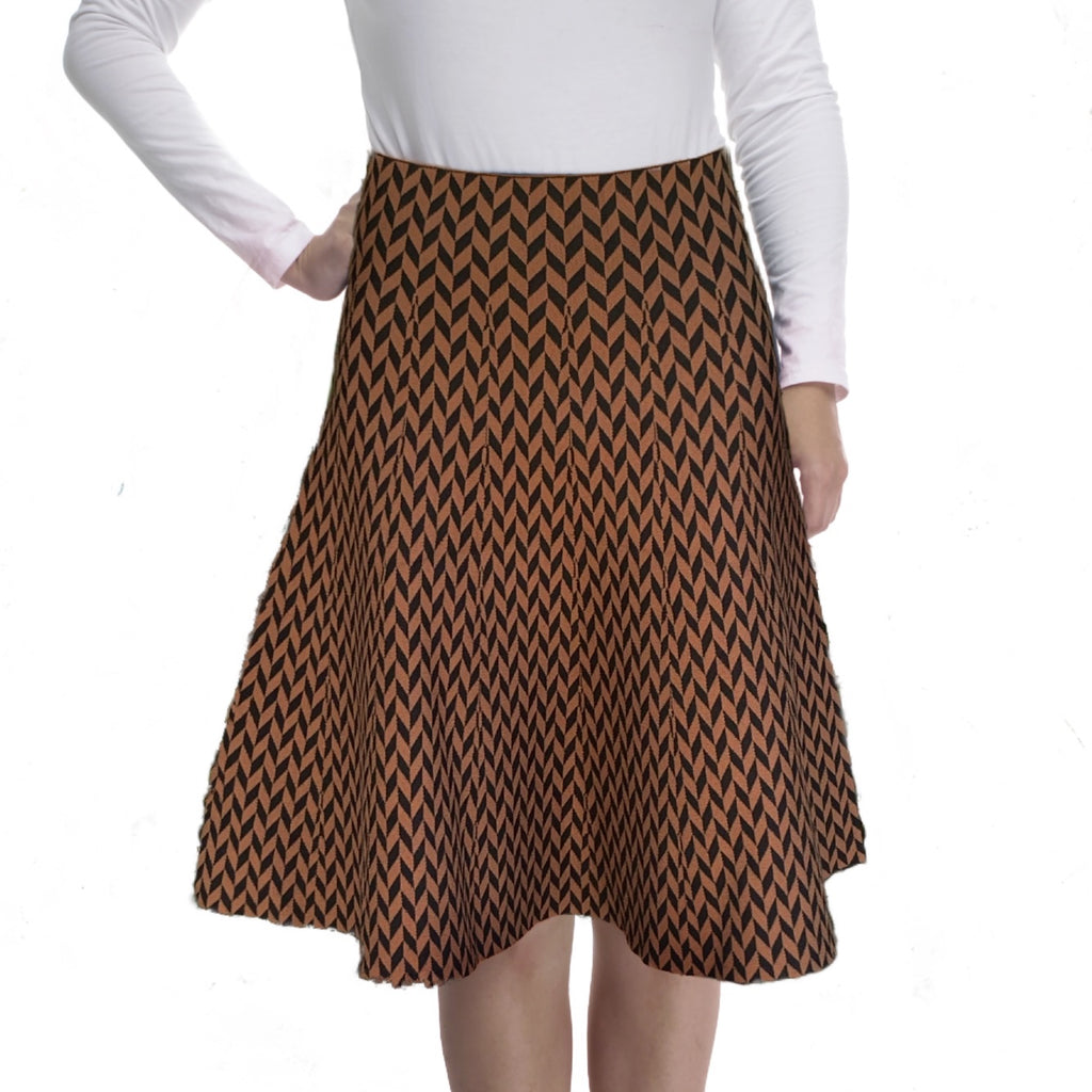 AMAZING MM SKIRT  -  YEAR ROUND HERRINGBONE BLACK & BROWN