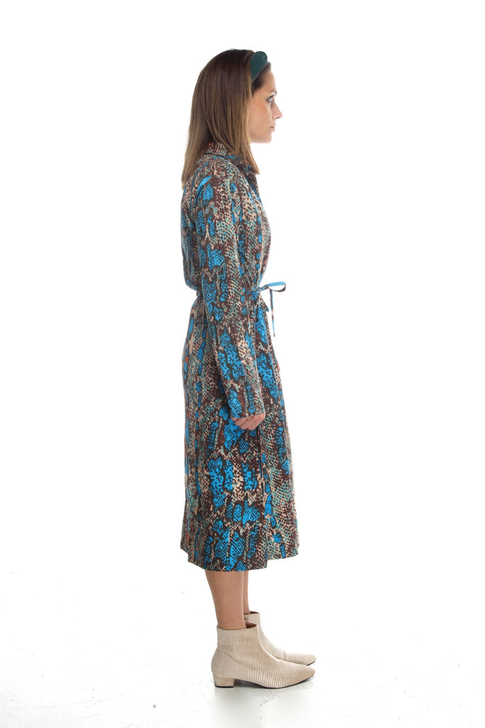 COLORFUL SNAKE PRINT SHIRT DRESS - Mia Mod