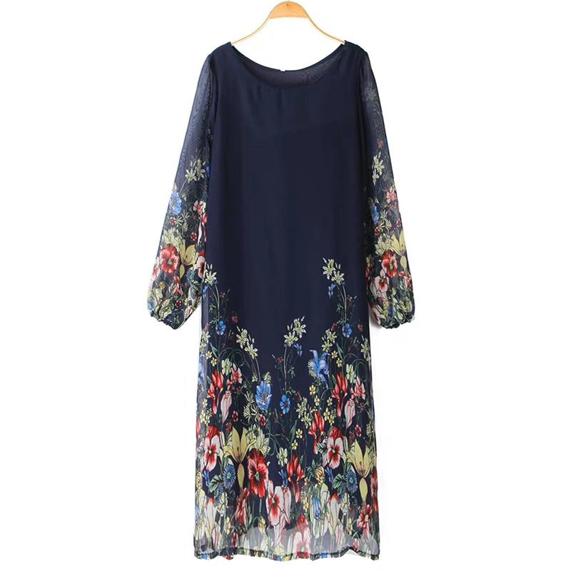 EXTRA PETITE: NAVY FLORAL DRESS