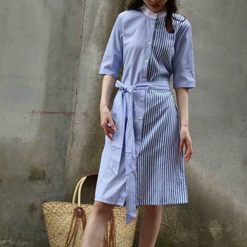 DOUBLE STRIPED SHIRT DRESS