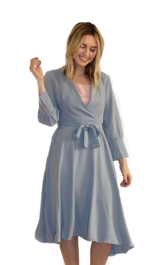 BLUE WRAP DRESS