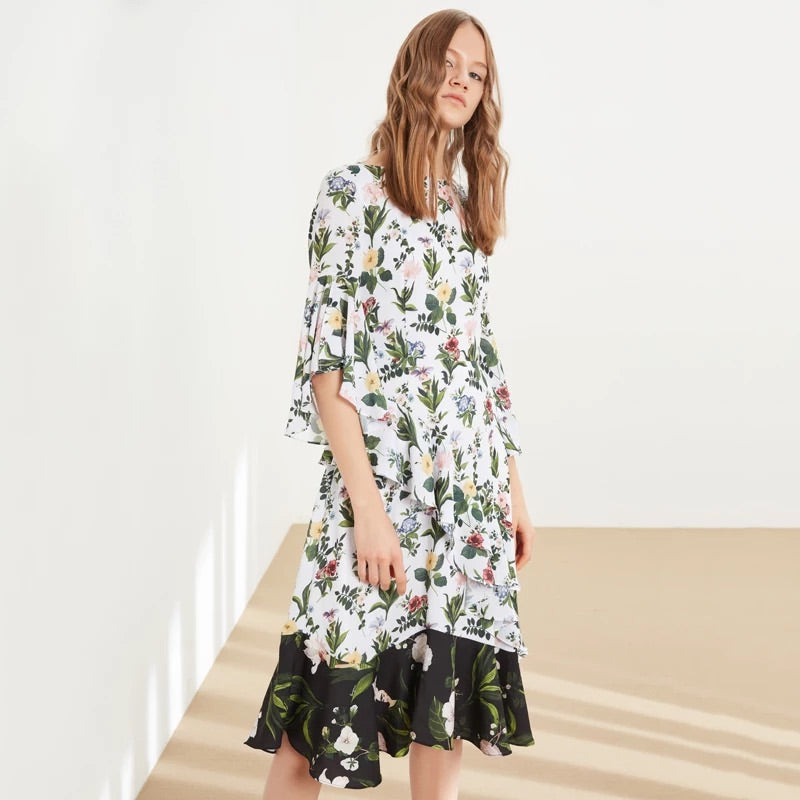 MIXED FABRIC FLORAL DRESS