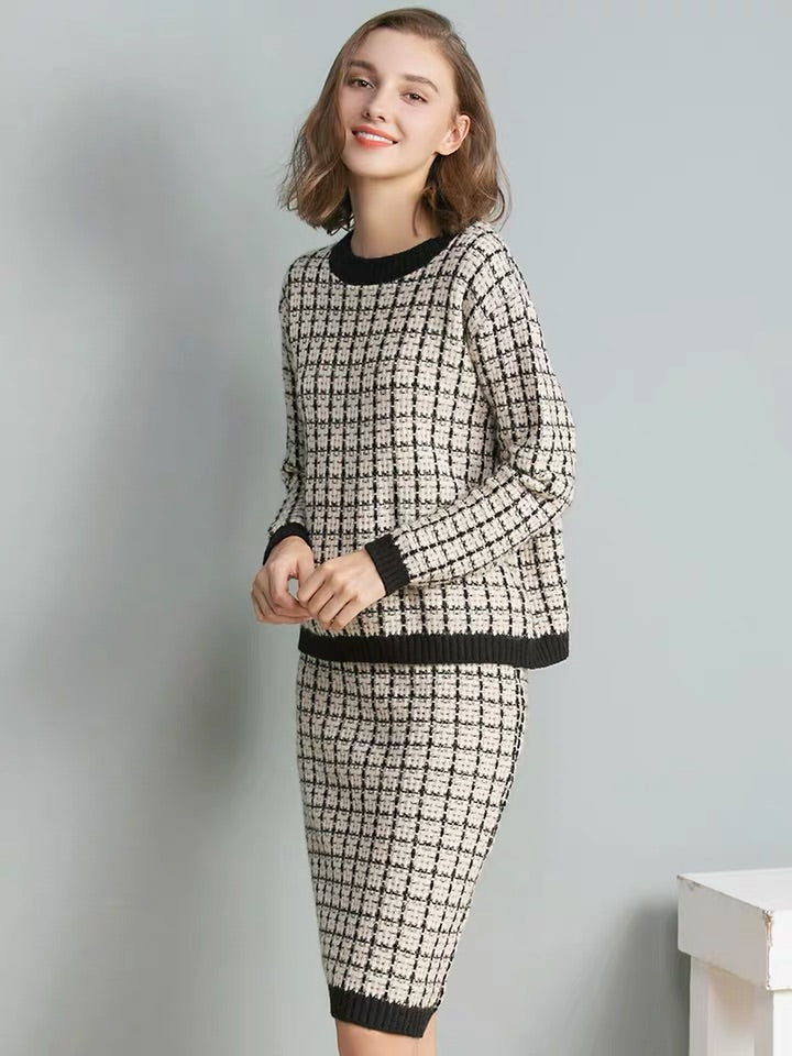 TWEED STYLE SWEATER SET