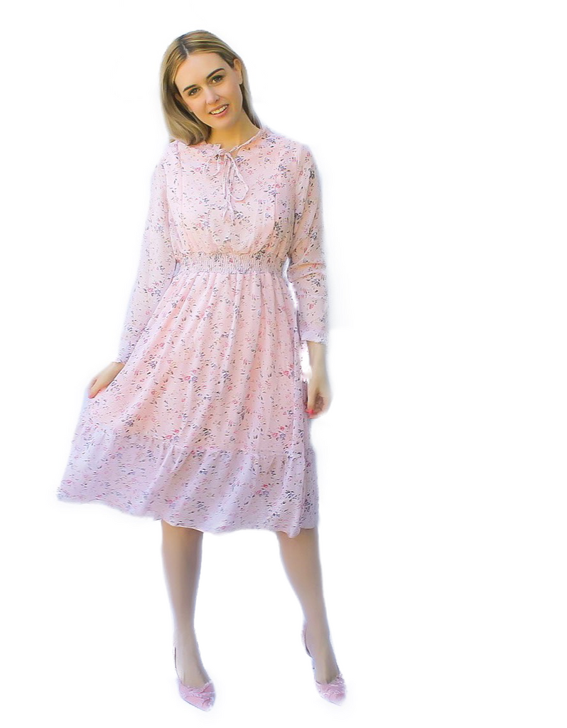 NURSING FRIENDLY PINK FLORAL CHIFFON DRESS