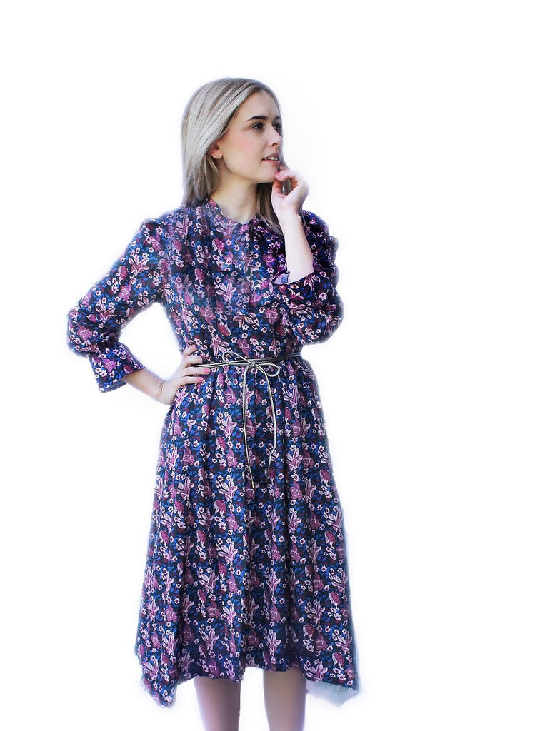 PURPLE FLORAL KERCHIEF DRESS