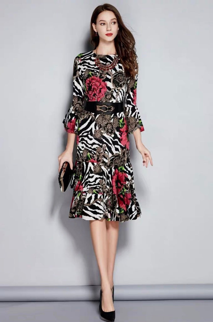 ROSE ZEBRA STRETCH DRESS