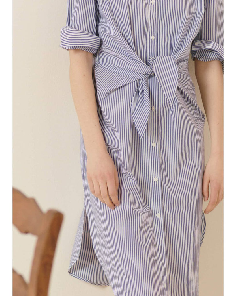 KNOT FRONT STRIPE SHIRT DRESS