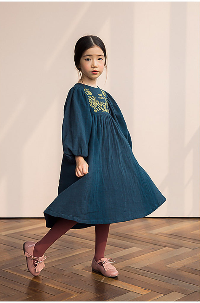 RK EMBROIDERED TOP FLOW DRESS