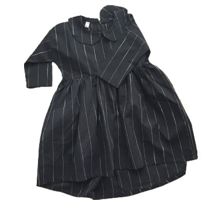 RK LAPEL STRIPED DOWN DRESS