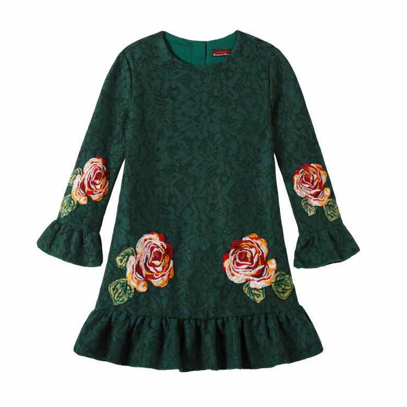 RK Emerald Drop Waist Lace Rose Dress