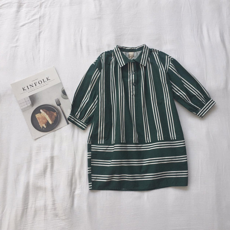 RK STRIPED SHIRT TUNIC DRESS